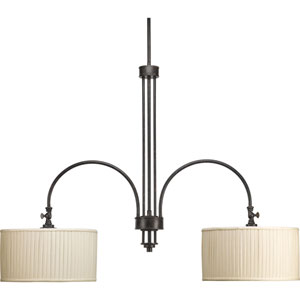 Clayton Espresso Two-Light Chandelier with Cream Pleated Linen Shade