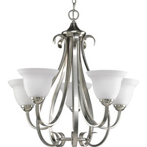 Torino Brushed Nickel Five-Light Chandelier with Etched Glass Shade