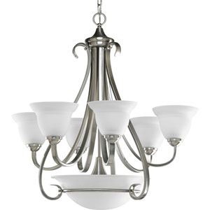 Torino Brushed Nickel Six-Light Chandelier with Etched Glass Shade