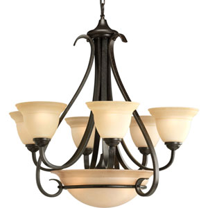 P4417-77:  Torino Forged Bronze Six-Light Chandelier