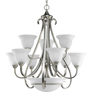 Torino Brushed Nickel Nine-Light Chandelier with Etched Glass Shade