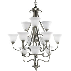 Torino Brushed Nickel 12-Light Chandelier with Etched Glass Shades