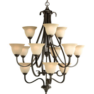 P4419-77:  Torino Forged Bronze Twelve-Light Chandelier