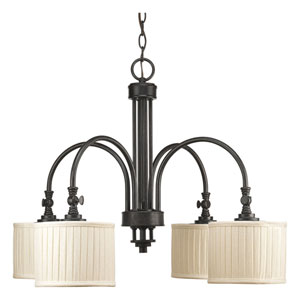 Clayton Espresso Four-Light Chandelier with Cream Pleated Linen Shade