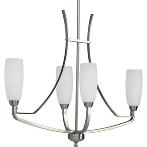 Wisten Brushed Nickel Four-Light Chandelier with Etched Glass Tulip Shaped Shades