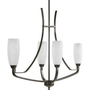 Wisten Antique Bronze Four-Light Chandelier with Etched Glass Tulip Shaped Shades