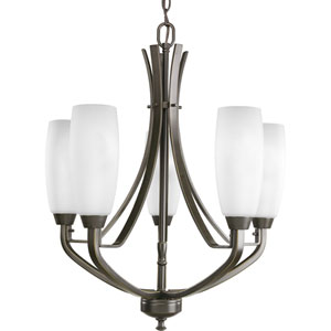 Wisten Antique Bronze Five-Light Chandelier with Etched Glass