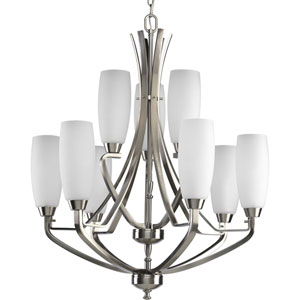 Wisten Brushed Nickel Nine-Light Chandelier with Etched Glass