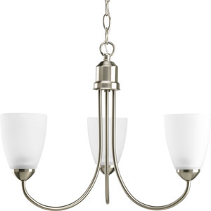 Gather Brushed Nickel Three-Light Medium Base Chandelier with Etched Glass Shade