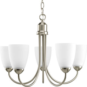 Gather Brushed Nickel Five-Light Medium Base Chandelier with Etched Glass Shade