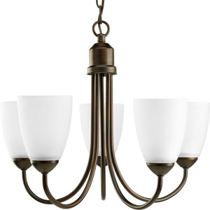 Gather Antique Bronze Five-Light Medium Base Chandelier with Etched Glass Shade