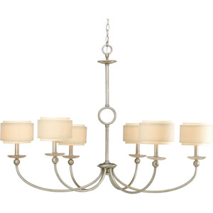 Ashbury Silver Ridge Six-Light Chandelier with Toasted Linen Drum Shades