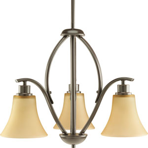 Joy Antique Bronze Three-Light Chandelier with Etched Light Umber Glass Shades
