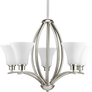 Joy Brushed Nickel Five-Light Chandelier with Etched White inside Glass Shade