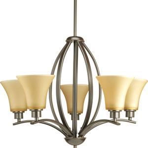Joy Antique Bronze Five-Light Chandelier with Etched Light Umber Glass Shades