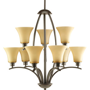 Joy Antique Bronze Nine-Light Chandelier with Etched Light Umber Glass Shades