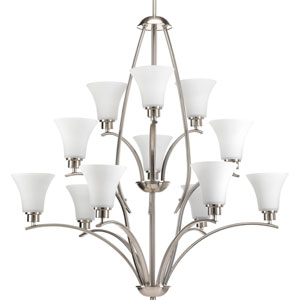 Joy Brushed Nickel 12-Light Chandelier with Etched Glass Shade
