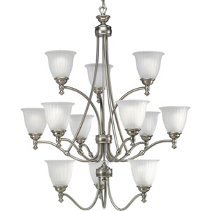 P4510-81:  Renovations Antique Nickel Twelve-Light Chandelier