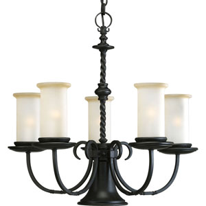P4587-80:  Santiago Forged Black Five-Light Chandelier