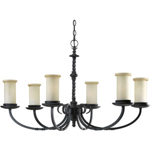 P4588-80:  Santiago Forged Black Six-Light Chandelier