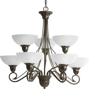 P4603-20:  Pavilion Antique Bronze Nine-Light Chandelier