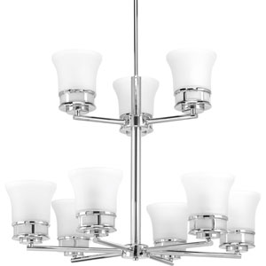 P4614-15 Cascadia Polished Chrome Nine-Light Chandelier