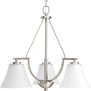 Bravo Brushed Nickel Three-Light Chandelier with Etched Glass Shade