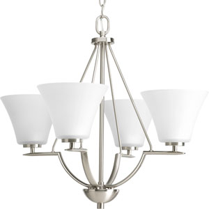 Bravo Brushed Nickel Four-Light Chandelier with Etched Glass Shade