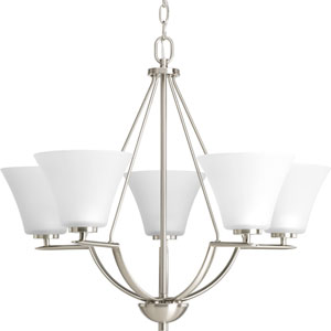 Bravo Brushed Nickel Five-Light Chandelier with Etched Glass Shade