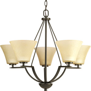 Bravo Antique Bronze Five-Light Chandelier with Umber Linen Glass Shades