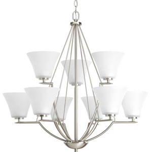 Bravo Brushed Nickel Nine-Light Chandelier with Etched Glass Shade