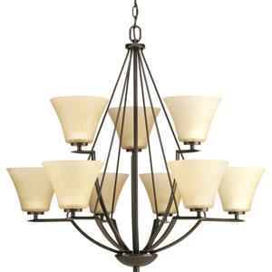 Bravo Antique Bronze Nine-Light Chandelier with Umber linen Glass Shade