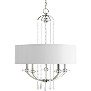 Nissé Polished Nickel Five-Light Chandelier with White Linen Shade