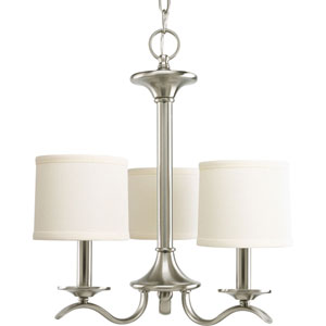 Inspire Brushed Nickel Three-Light Chandelier with Beige Linen Shade Linen Shades