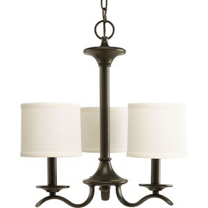 Inspire Antique Bronze Three-Light Chandelier with Beige Linen Shade Linen Shades
