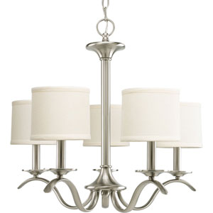 Inspire Brushed Nickel Five-Light Chandelier with Beige Linen Shade Linen Shades