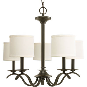 Inspire Antique Bronze Five-Light Chandelier with Beige Linen Shade Linen Shades
