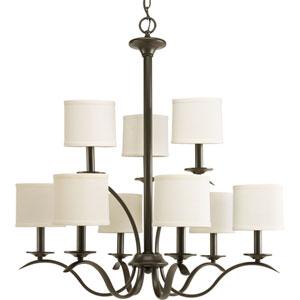 Inspire Antique Bronze Nine-Light Chandelier with Beige Linen Shade Linen Shades