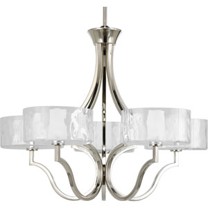 Caress Polished Nickel Five-Light Chandelier with Glass Diffuser