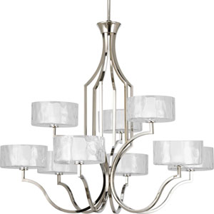 Caress Polished Nickel Nine-Light Chandelier with Glass Diffuser