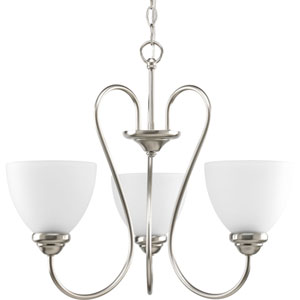 Heart Brushed Nickel Three-Light 22-Inch Chandelier with Etched Glass Shade