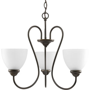 Heart Antique Bronze Three-Light 22-Inch Chandelier with Etched Glass Shade