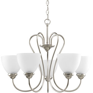 Heart Brushed Nickel Five-Light 25.5-Inch Chandelier with Etched Glass Shade