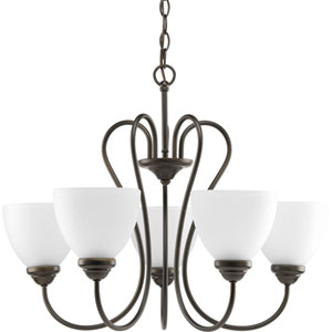 Heart Antique Bronze Five-Light 25.5-Inch Chandelier with Etched Glass Shade