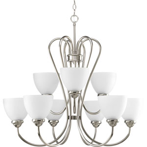 Heart Brushed Nickel Nine-Light 30-Inch Chandelier with Etched Glass Shade