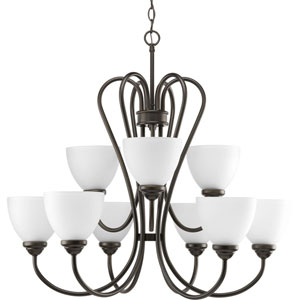 Heart Antique Bronze Nine-Light 30-Inch Chandelier with Etched Glass Shade