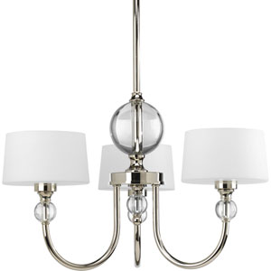 Fortune Polished Nickel Three-Light Chandelier with Opal Etched Glass Drum Shades