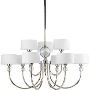 Fortune Polished Nickel Nine-Light Chandelier with Opal Etched Glass Drum Shades