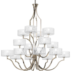 Caress Polished Nickel 16-Light Chandelier