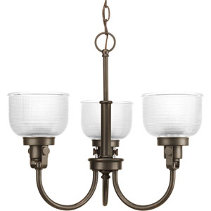 Archie Venetian Bronze Three-Light Chandelier with Clear Prismatic Glass